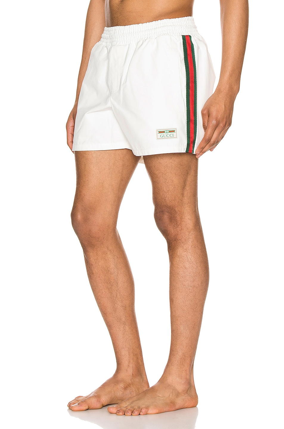 Image 1 of Gucci Waterproof Nylon Swim Shorts With Web in White & Green & Red