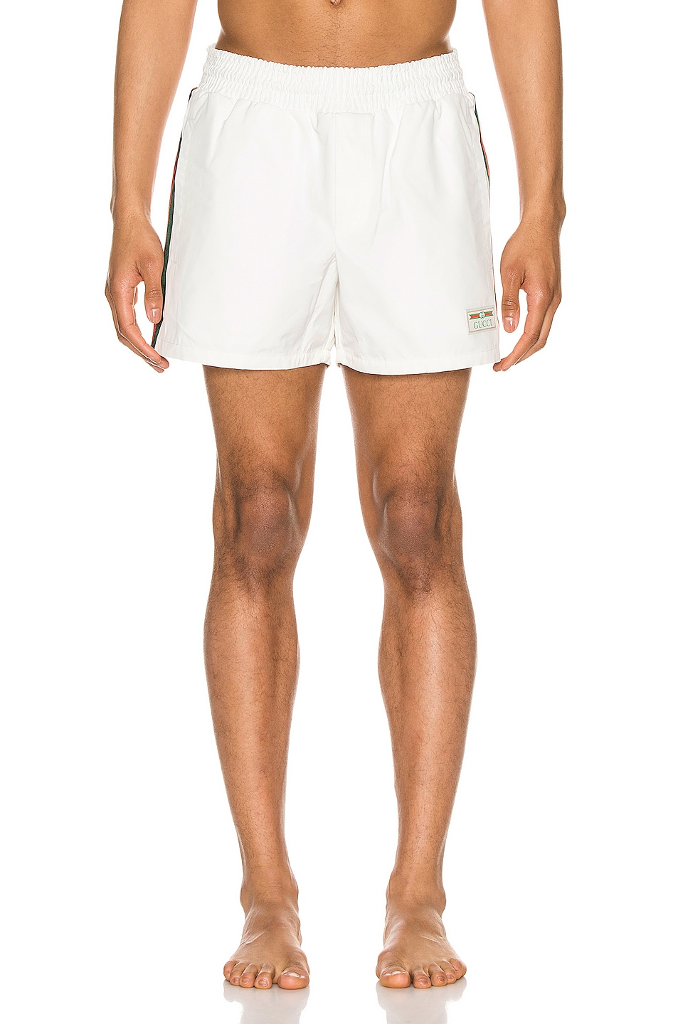 Image 2 of Gucci Waterproof Nylon Swim Shorts With Web in White & Green & Red