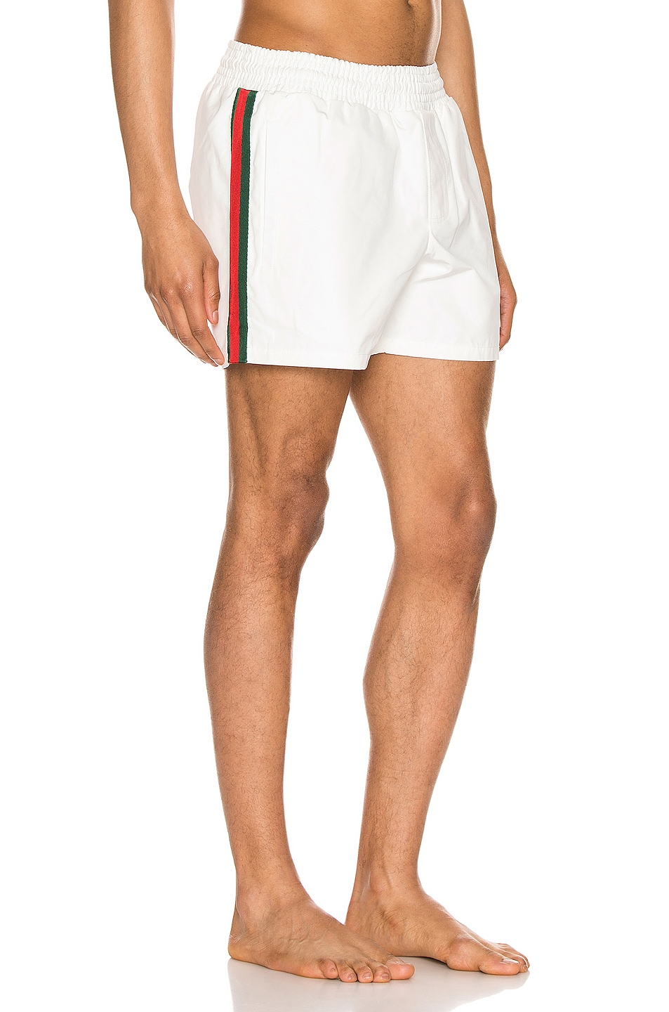 Image 3 of Gucci Waterproof Nylon Swim Shorts With Web in White & Green & Red