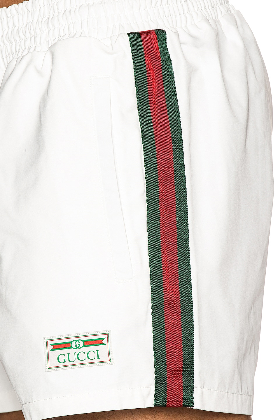 Image 6 of Gucci Waterproof Nylon Swim Shorts With Web in White & Green & Red
