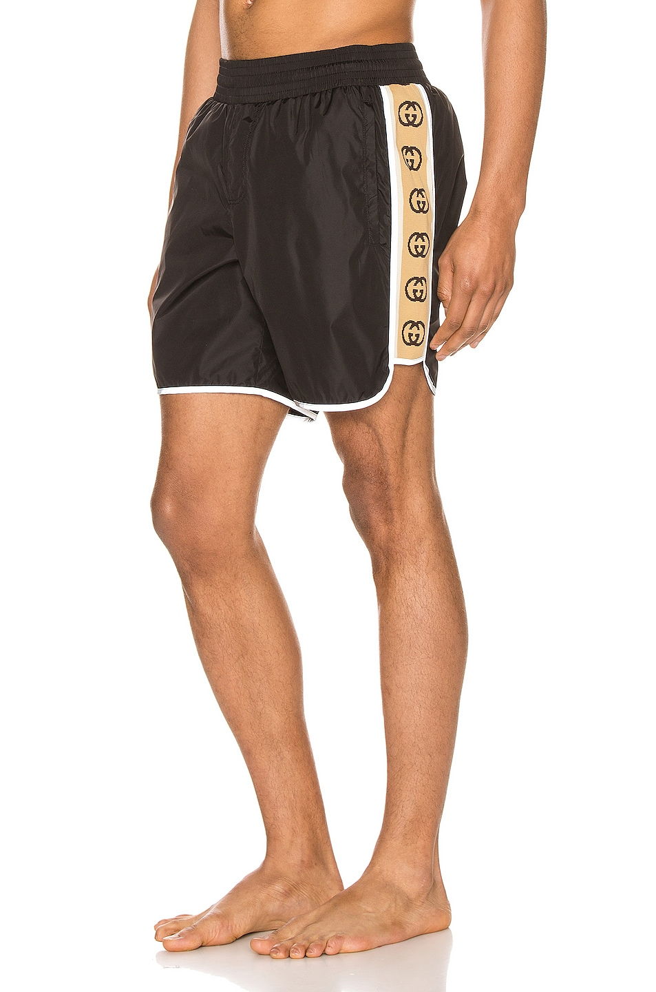 Image 1 of Gucci Nylon Swim Shorts With Ribbon in Black & Multi