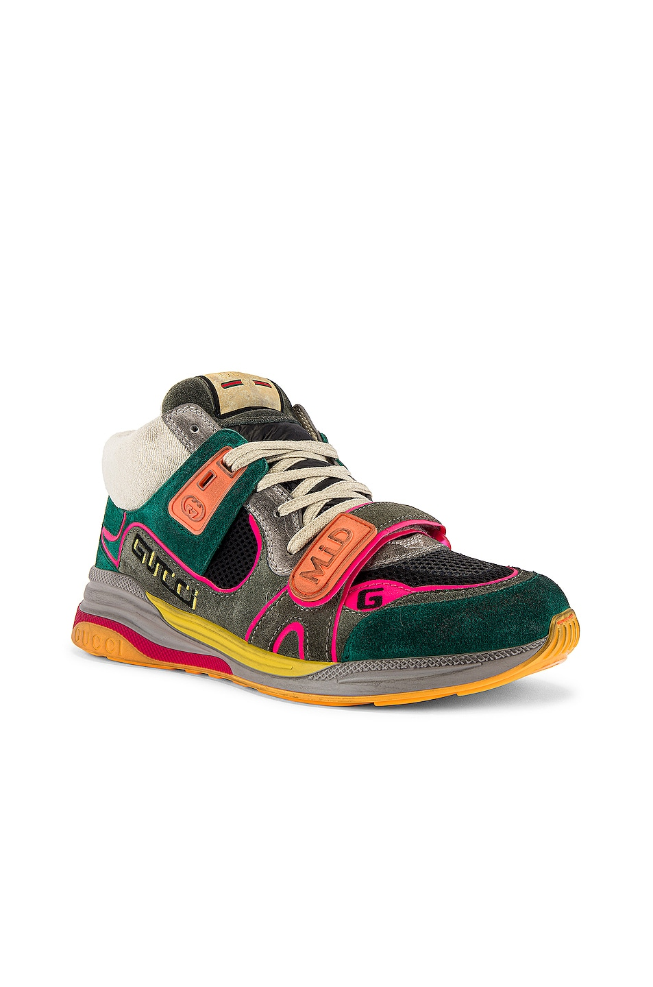 Image 1 of Gucci G Line Mid Low Top Sneaker in Grey & Green