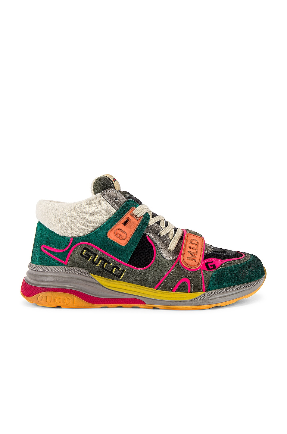 Image 2 of Gucci G Line Mid Low Top Sneaker in Grey & Green