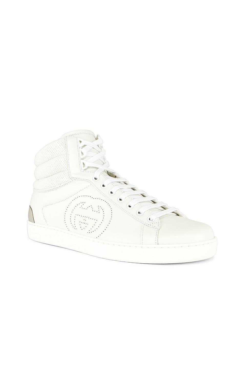 Image 1 of Gucci New Ace High Top Sneaker in White & Grey