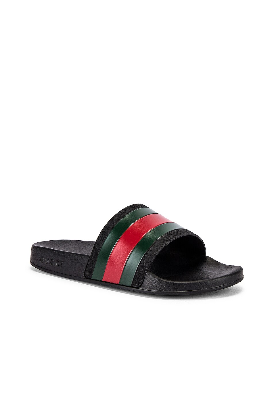 Image 1 of Gucci Pursuit '72 Slide in Black & Green & Red