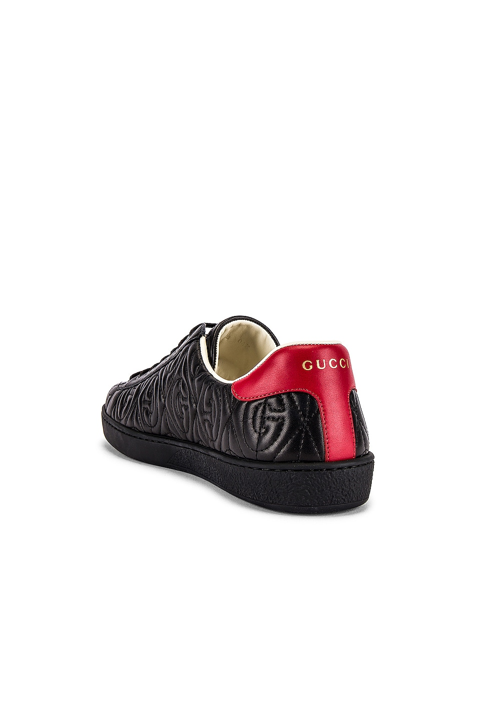 Image 3 of Gucci New Ace Sneaker in Black & Red Flame