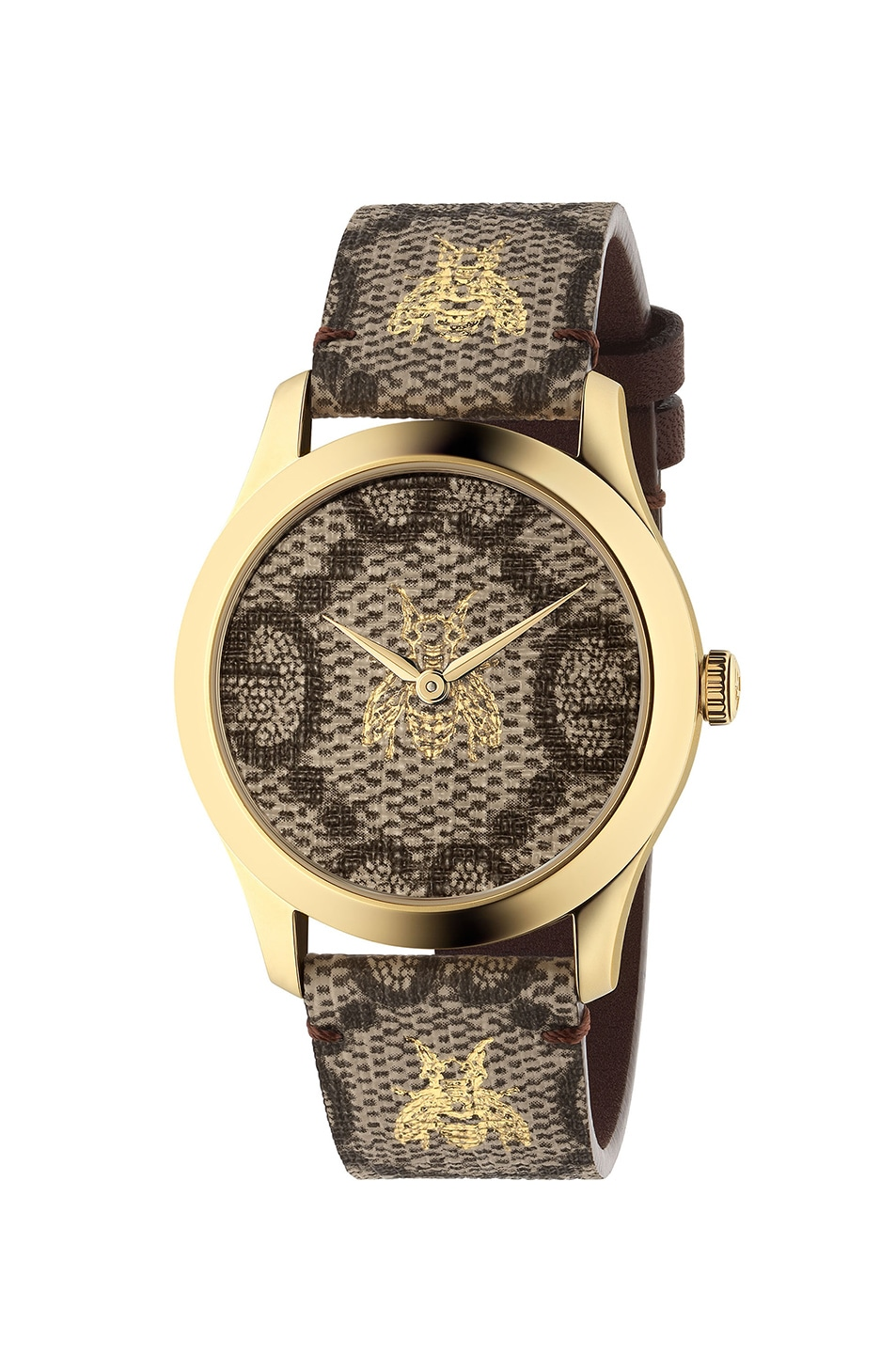 Image 1 of Gucci 38MM G-Timeless Bee Print Watch in Beige & Gold