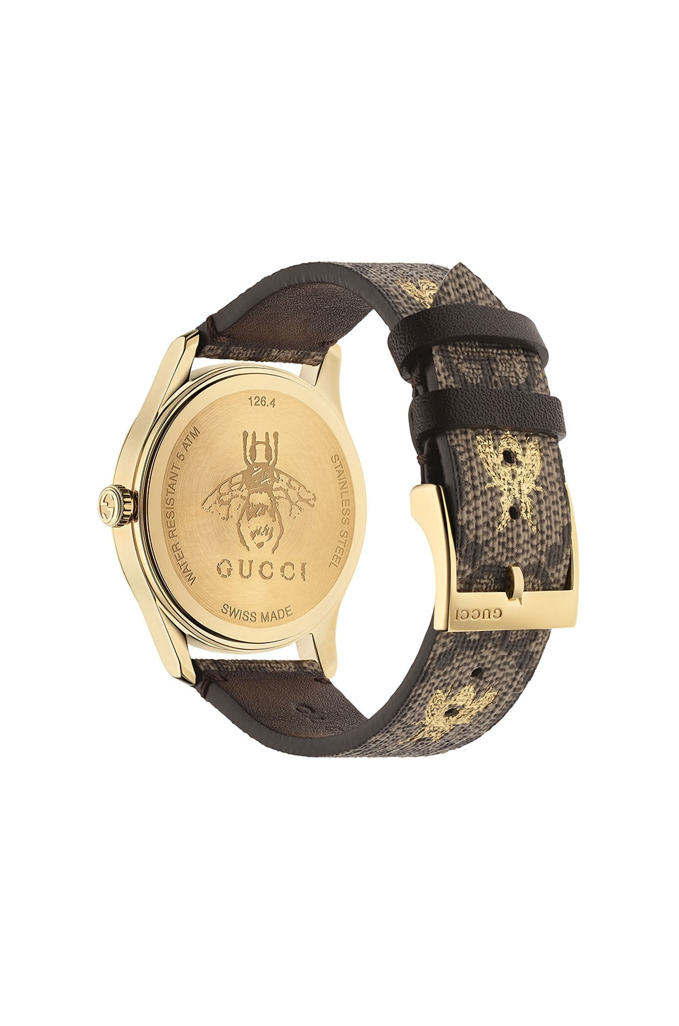 Image 2 of Gucci 38MM G-Timeless Bee Print Watch in Beige & Gold