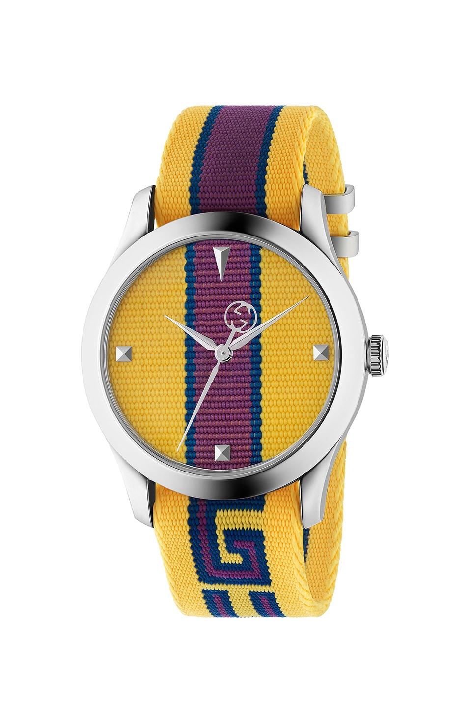 Image 1 of Gucci 38MM G-Timeless Logo Strap Watch in Yellow, Purple & Blue