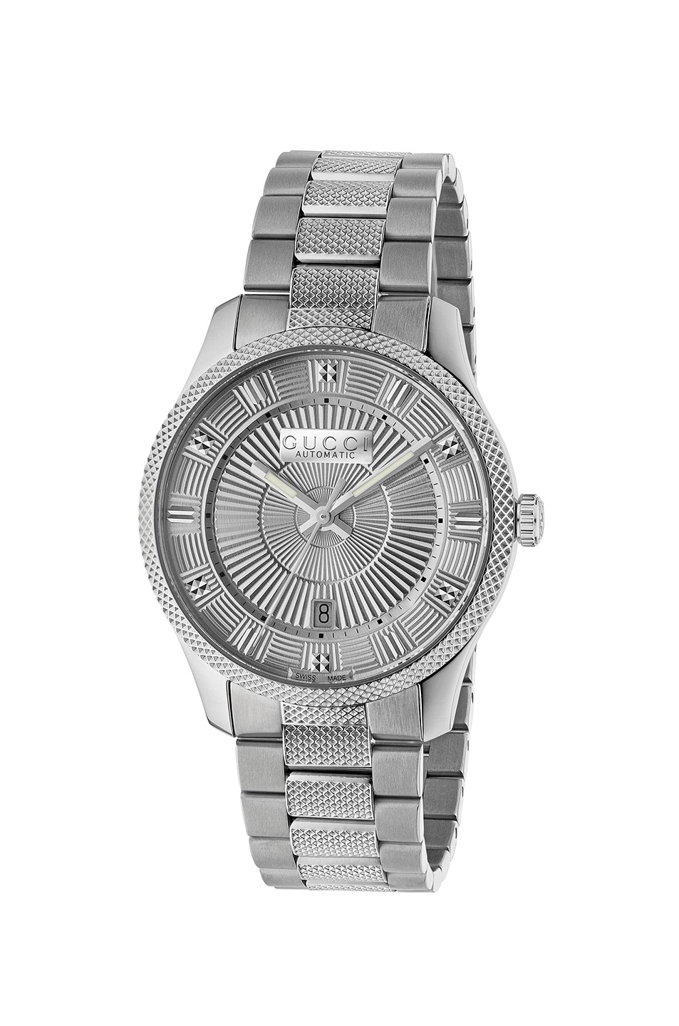 Image 1 of Gucci 40MM Automatic Etched Face Watch in Silver