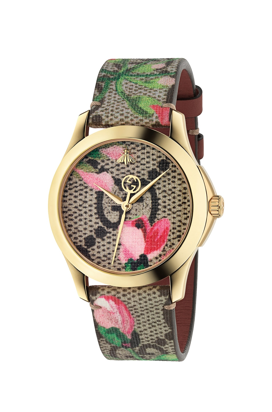 Image 1 of Gucci 38MM G-Timeless Pink Blooms Print Watch in Beige & Pink