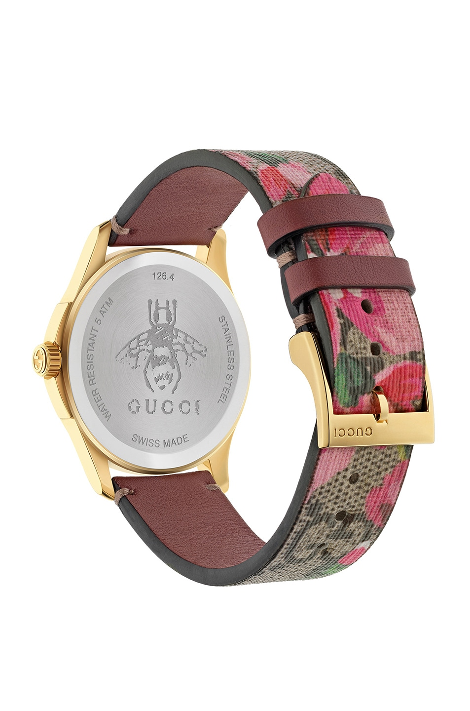 Image 2 of Gucci 38MM G-Timeless Pink Blooms Print Watch in Beige & Pink