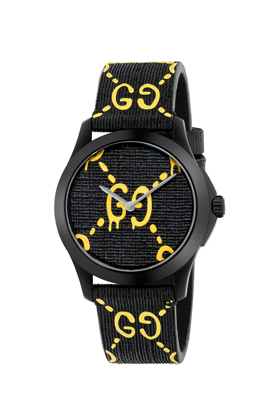 Image 1 of Gucci 38MM G-Timeless GG Pattern Watch in Black & Yellow