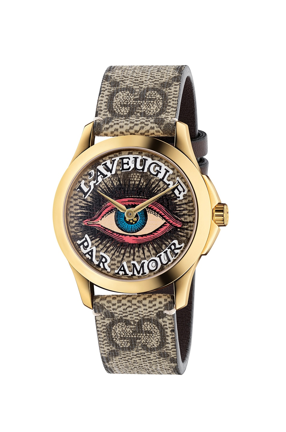 8215af8fa33 Image 1 of Gucci 38MM G-Timeless Eye Motif Watch in Beige   Multicolor