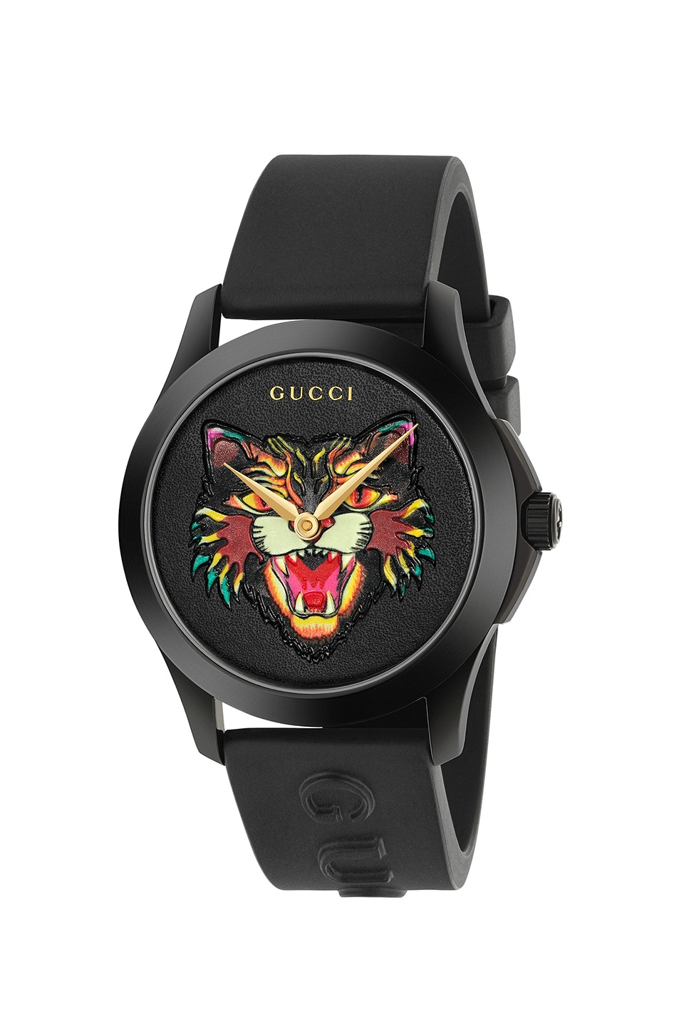Image 1 of Gucci 38MM G-Timeless Feline Head Motif Watch in Black & Multicolor