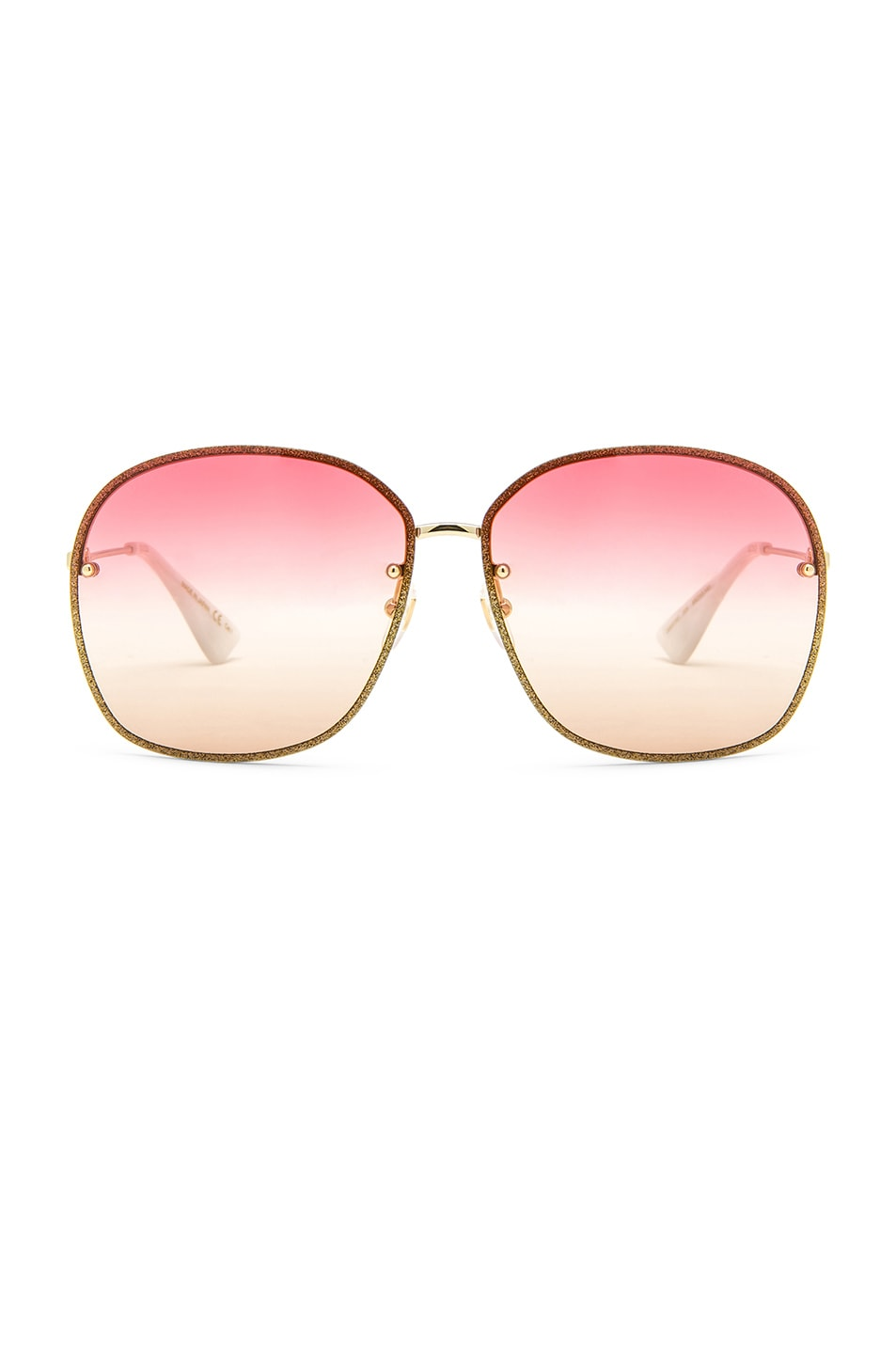 Image 1 of Gucci Urban Web Block Colored Profile Sunglasses in Gold