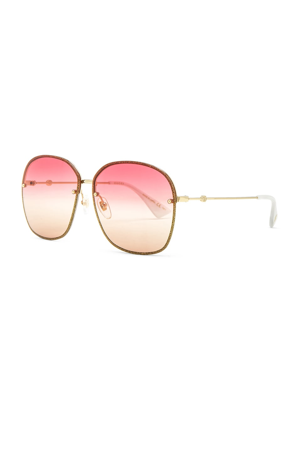 Image 2 of Gucci Urban Web Block Colored Profile Sunglasses in Gold