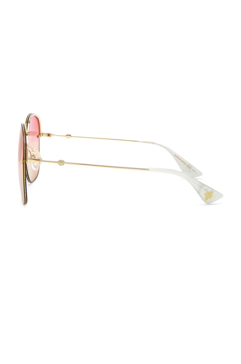 Image 3 of Gucci Urban Web Block Colored Profile Sunglasses in Gold