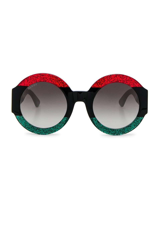Image 1 of Gucci Urban Web Block Sunglasses in Green, Red & Black Web