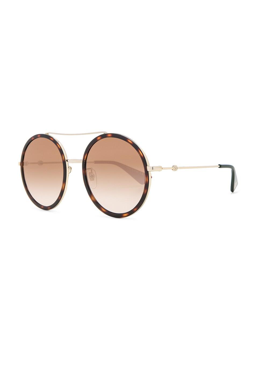 Image 2 of Gucci Web Block Sunglasses in Gold & Black