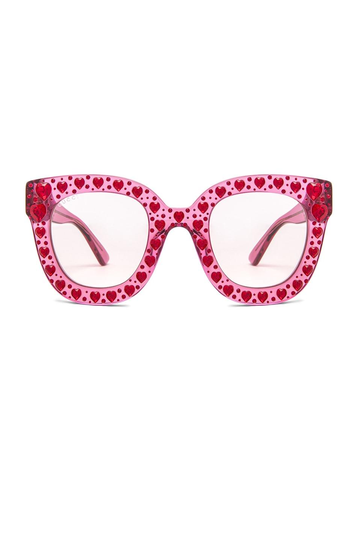 2221c5cc3f Gucci Hearts Sunglasses in Fuchsia | FWRD