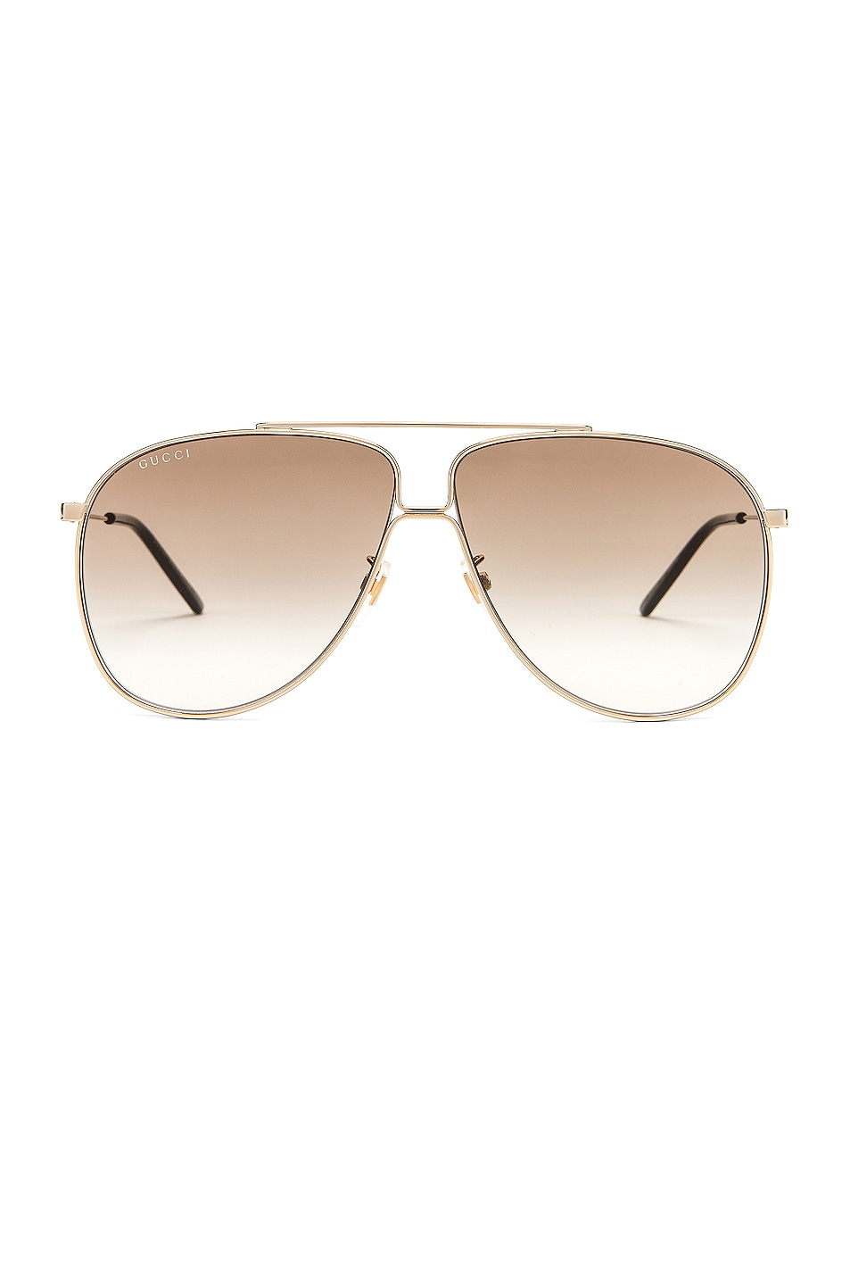 Image 1 of Gucci Shiny Gold Aviator Sunglasses in Brown