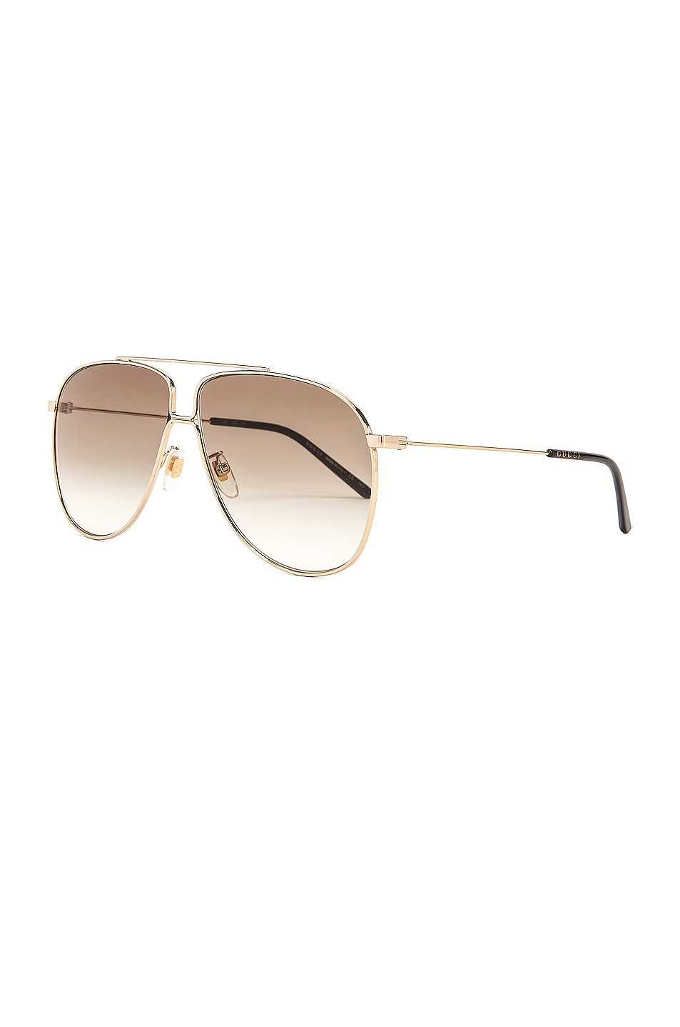 Image 2 of Gucci Shiny Gold Aviator Sunglasses in Brown