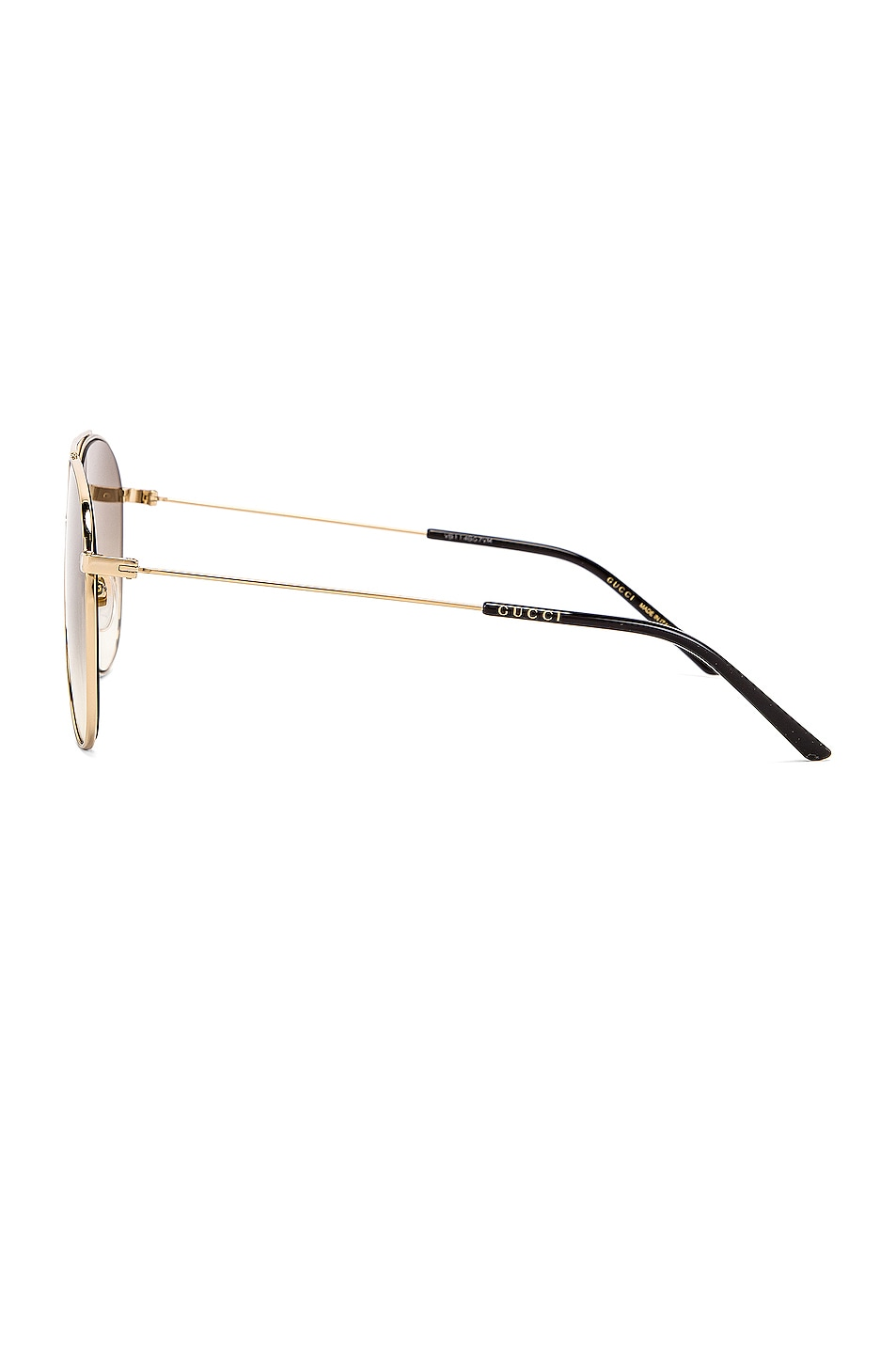 Image 3 of Gucci Shiny Gold Aviator Sunglasses in Brown