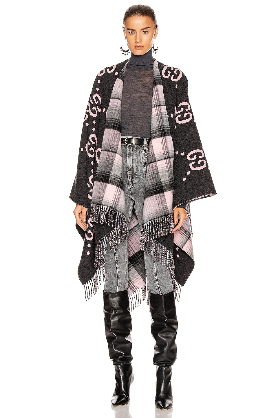 Image 1 of Gucci GG Poncho in Graphite & Pink
