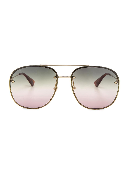 Image 1 of Gucci Urban Web Block Colored Profile Sunglasses in Gold