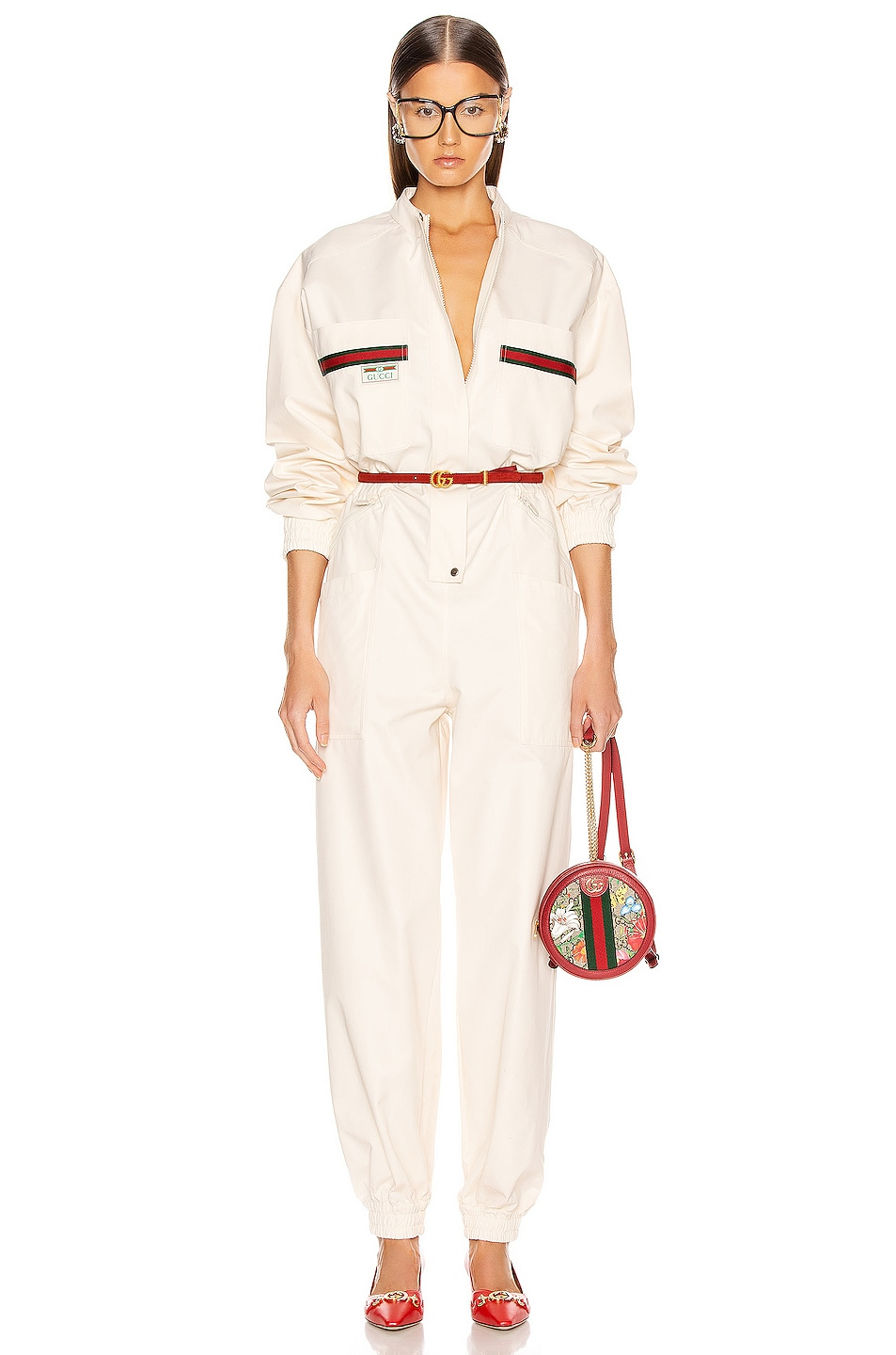 Image 1 of Gucci Long Sleeve Jumpsuit in Ivory & Multicolor