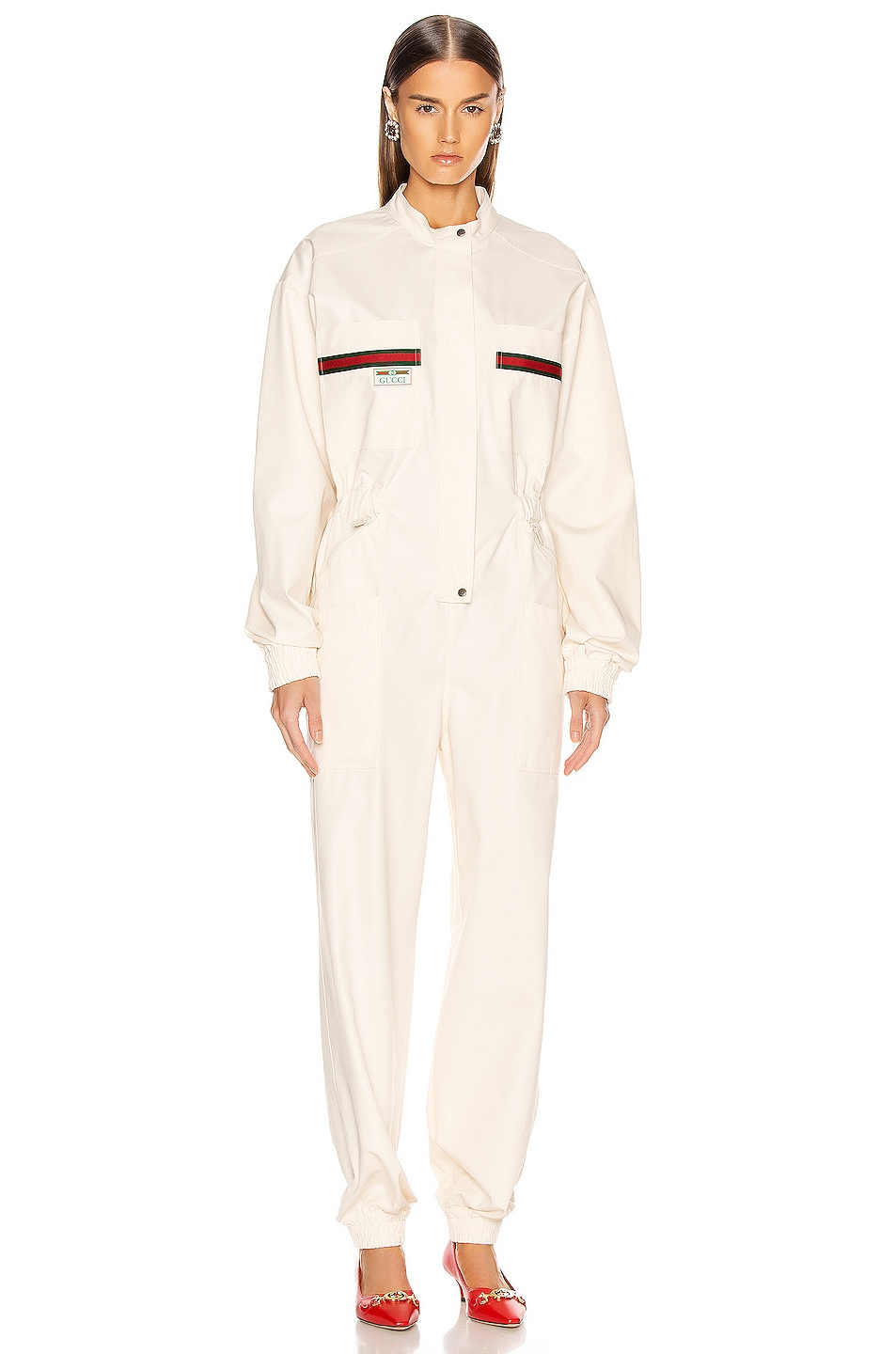 Image 2 of Gucci Long Sleeve Jumpsuit in Ivory & Multicolor