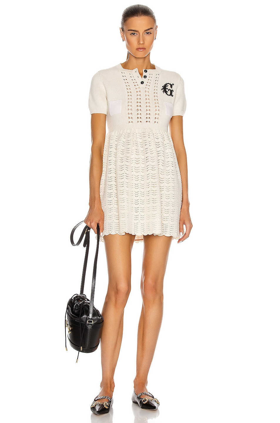 Image 1 of Gucci G Patch Mini Dress in Ivory