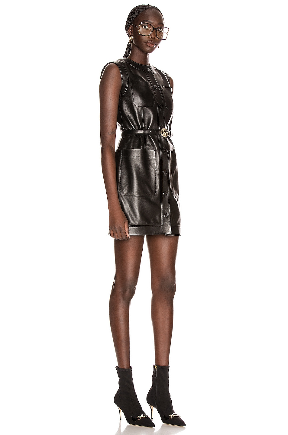 Image 2 of Gucci Leather Mini Dress in Black