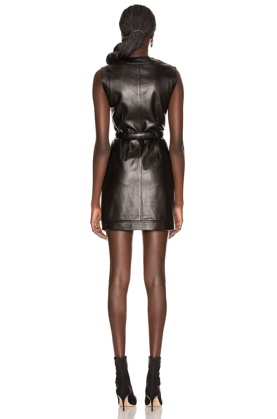 Image 3 of Gucci Leather Mini Dress in Black