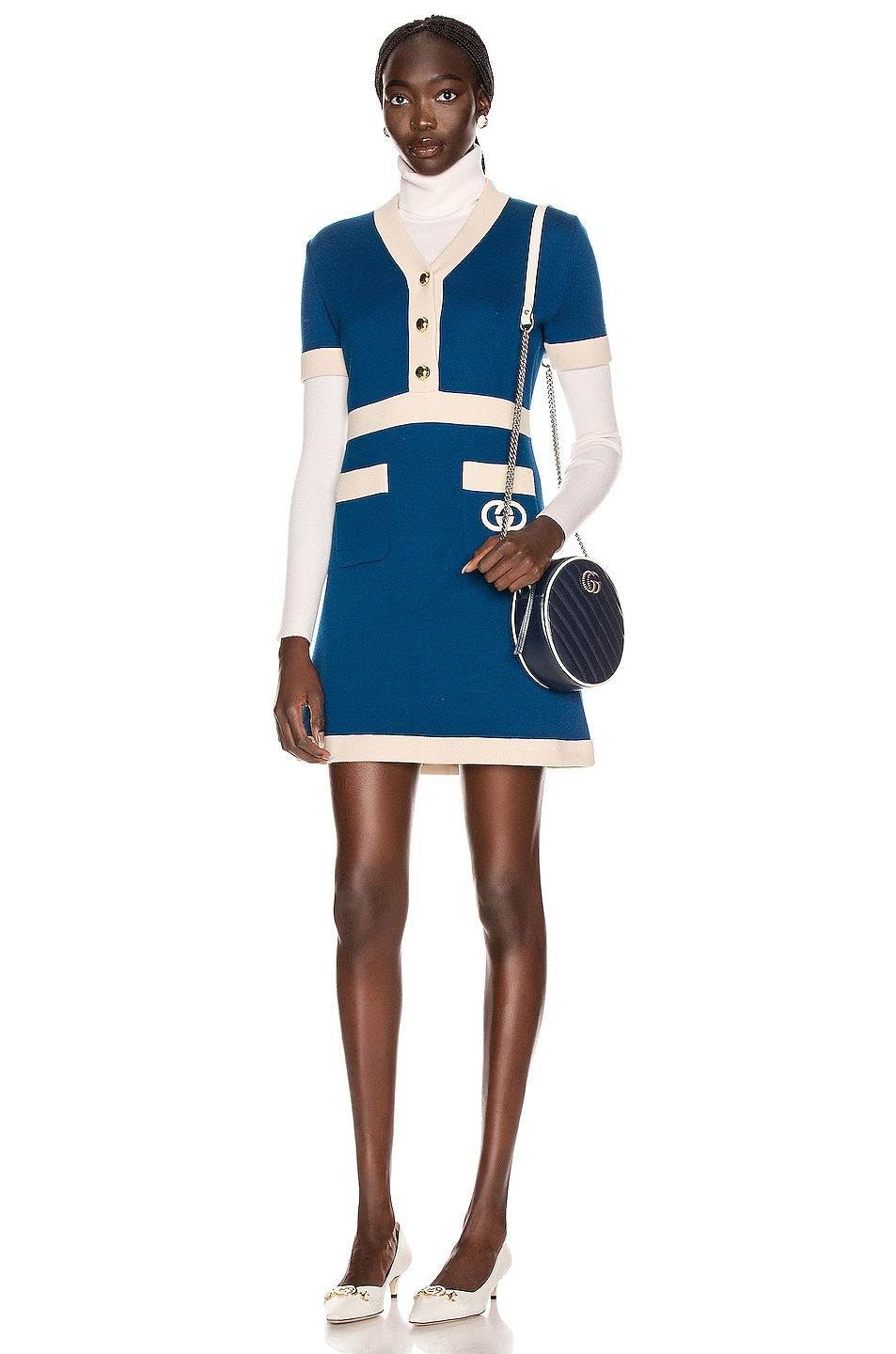 Image 1 of Gucci Short Sleeve Tennis Mini Dress in Blue & Ivory