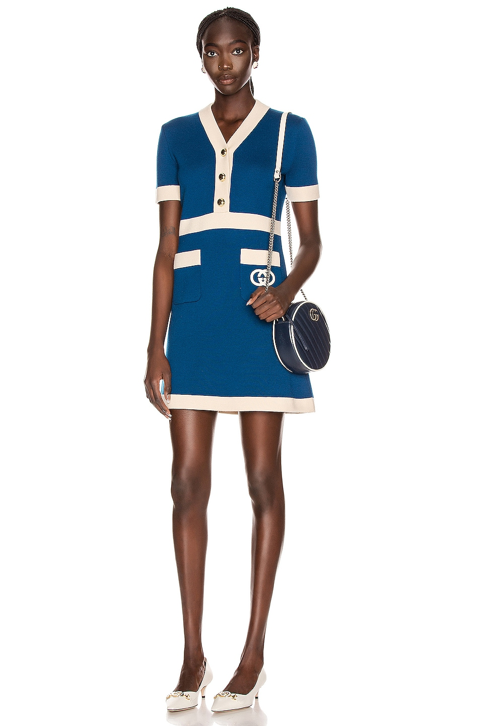 Image 2 of Gucci Short Sleeve Tennis Mini Dress in Blue & Ivory