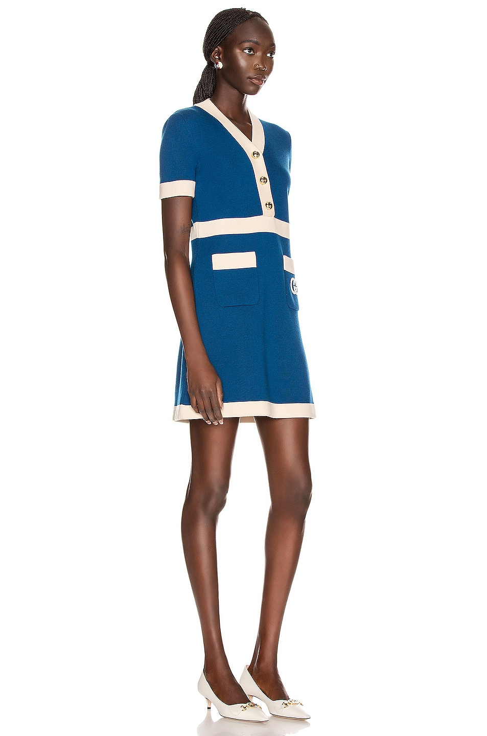 Image 3 of Gucci Short Sleeve Tennis Mini Dress in Blue & Ivory