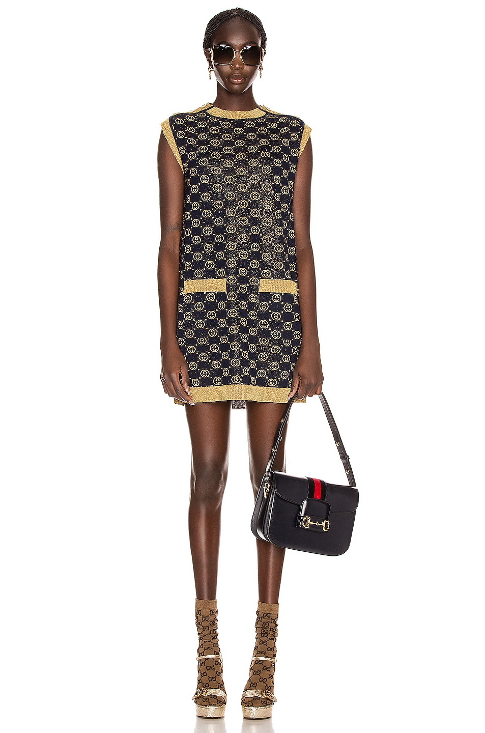 Image 1 of Gucci Sleeveless GG Crew Neck Dress in Blue & Gold