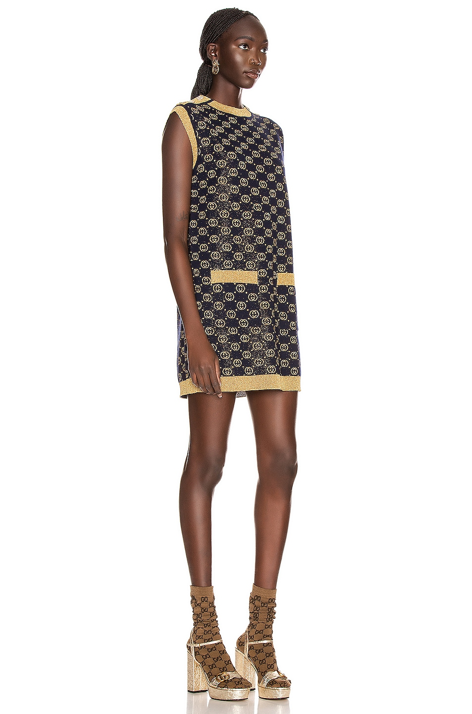 Image 2 of Gucci Sleeveless GG Crew Neck Dress in Blue & Gold