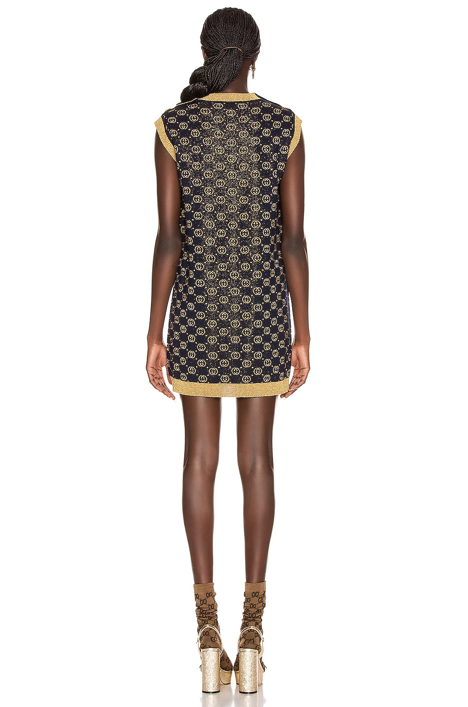 Image 3 of Gucci Sleeveless GG Crew Neck Dress in Blue & Gold