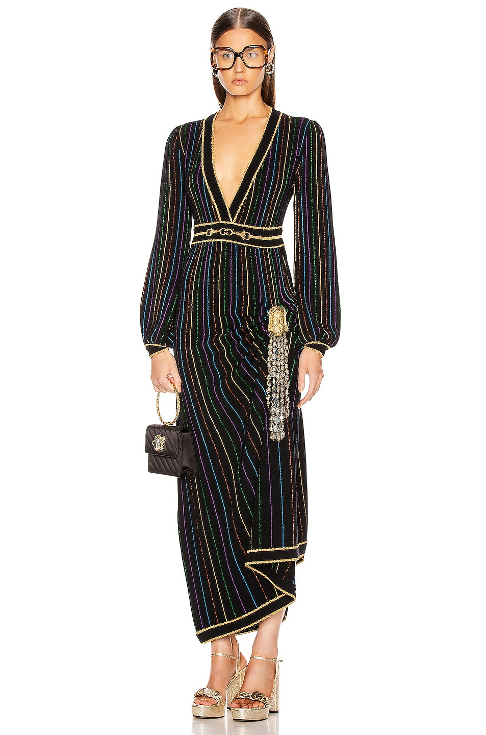 Image 1 of Gucci Long Sleeve V Neck Dress in Black & Multicolor