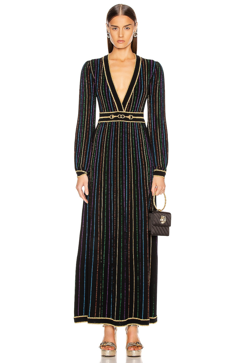 Image 2 of Gucci Long Sleeve V Neck Dress in Black & Multicolor