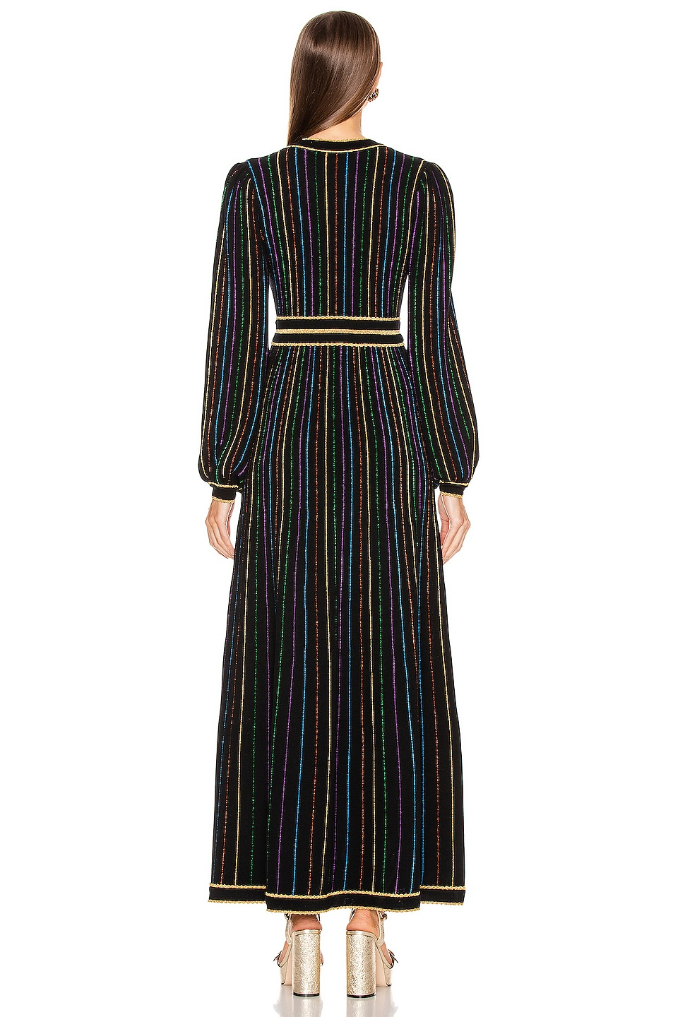 Image 4 of Gucci Long Sleeve V Neck Dress in Black & Multicolor