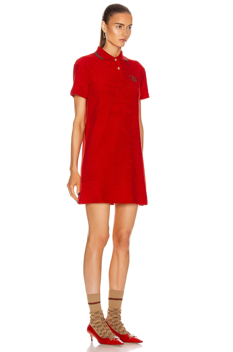Image 2 of Gucci Polo Mini Dress in Flame & Red