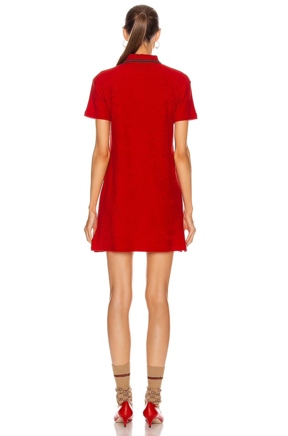 Image 3 of Gucci Polo Mini Dress in Flame & Red