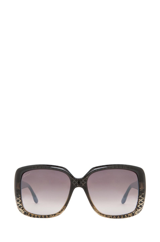 Image 1 of Gucci 3574 Sunglasses in Black Gold Diamond & Brown Mirror Gradient