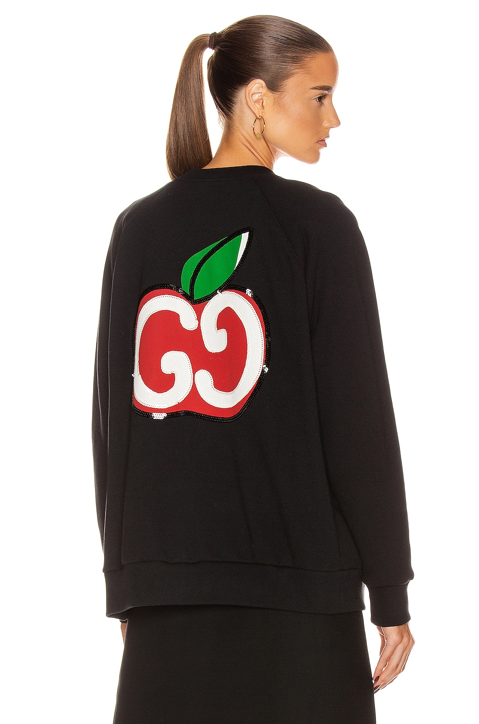Image 1 of Gucci Apples Long Sleeve Sweater in Black & Multicolor