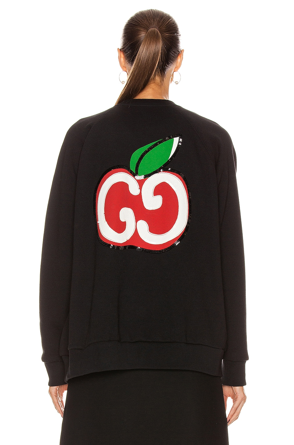 Image 6 of Gucci Apples Long Sleeve Sweater in Black & Multicolor