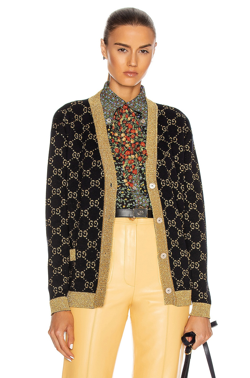 Image 1 of Gucci Long Sleeve Cardigan in Blue & Gold
